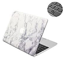 """Topinno®-2in1 White Marble-Hard Shell Case Print Frosted&Free Keyboard Cover Skin for Apple MacBook 12"""" Inch with Retina Display, Model: A1534 (2015 Version)"""