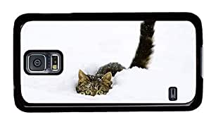 Hipster unique Samsung Galaxy S5 Case Funny Scary Cat PC Black for Samsung S5 by runtopwell