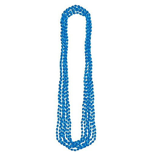 Amscan 395444.22 Metallic Bead Necklaces Party Supply, Blue, 30
