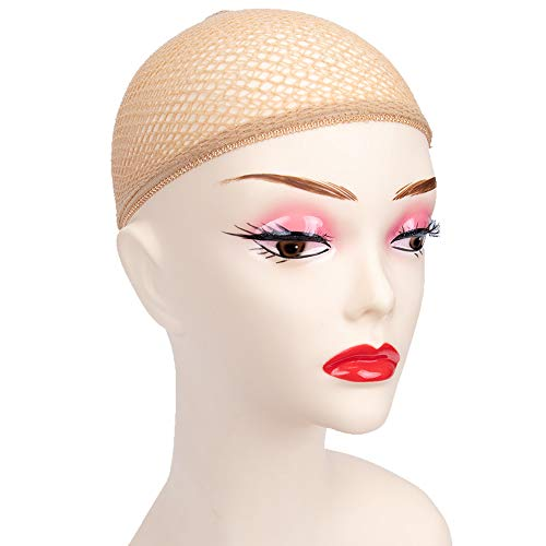 GEX Fishnet Style Hair Net Hair Wig Weaving Stretchable Net Mesh Fishnet Elastic OPEN Cap Beige 4pcs ()