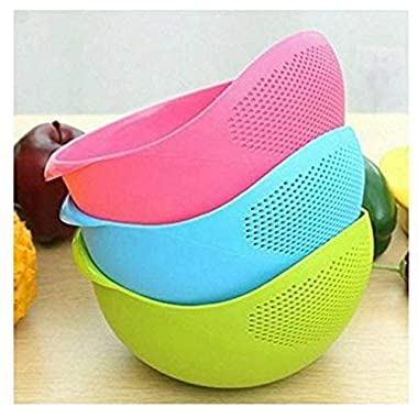 PRAMUKH FASHION ABS Plastic 11 Inch Multi Color Rice Bowl Rice Pulses Fruits Vegetable Noodles Pasta Washing Bowl & Strainer Good Quality & Perfect Size for Storing and Straining. Colander Random Colors 12
