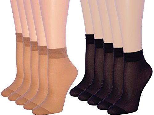 10 Pack Womens Ankle High Sheer Socks 20 DEN (5 pairs Beige and 5 pairs Black) by MALVA
