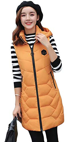 物足りない商品非行Alhyla ダウンベスト レディース 冬 秋 ファッション 韓国風 ロングスベスト 中綿 ベスト フード付き 無地 スリム ベスト