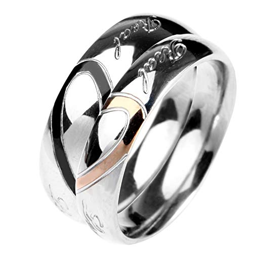 (KnSam Wedding Rings Men Women Stainless Steel Puzzle Heart Real Love Silver Women Size 7 & Men Size 10)
