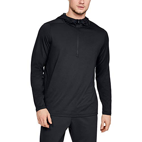 Under Armour Men's Recovery Travel 1/2 Zip Hoodie, Black (001)/Metallic Silver, Large (Under Armour Mens Qualifier 1 4 Zip)