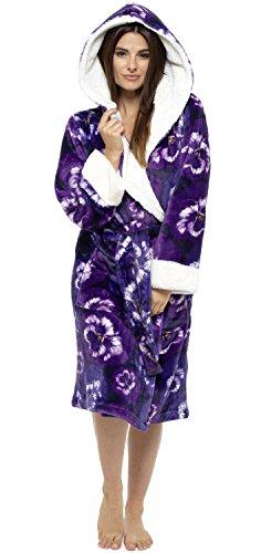 con in WOLF amp; cappuccio Purple da vestaglia floreale Harte pile donna HH1Sq0w6