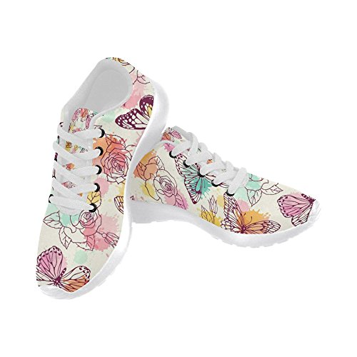 Butterflies InterestPrint Comfort Sneaker Go Womens Athletic and Pattern Sports Jogging Shoes Walking With Easy Roses Lightweight Running pqU6prwx1