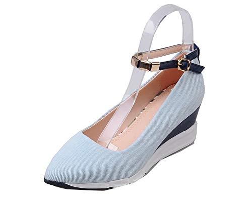 Chiusa Ballet AllhqFashion FBUIDD008370 Morbido Punta Azzurro Materiale Flats Medio Donna Tacco wxYrO40Yzq