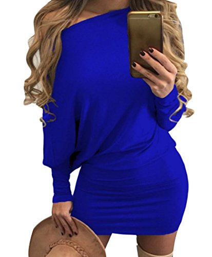 Più Spalle Dimensioni Royal Top Blu Tunica Manica Lunga Coolred Oblique Donne Vestito q4Ftat