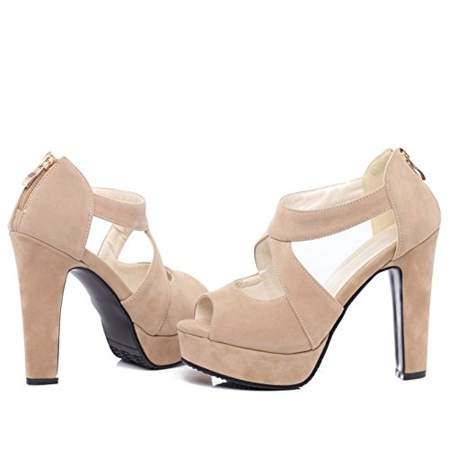 RAZAMAZA Mujer Cross Strap Plataforma tacon Alto Sandalias Peep Toe Tacones Zapatos Albaricoque