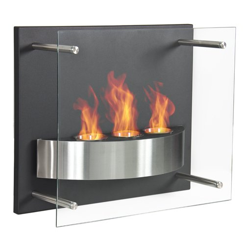 Best Choice Products Fireplace Wall Mount Ethanol Gel Fuel Burner 3 Reservoir Glass Contemporary Design For Sale