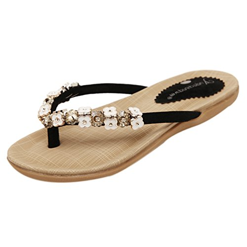 ZAMME Frauen Summer Open Toe Lace Up Flip Flops Sandale Thongs Schwarz
