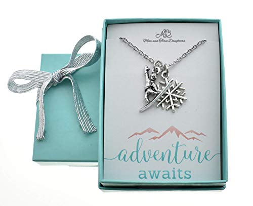 Snowboarder and Snowflake Charm Pendants in Silver Toned Metal on an 18