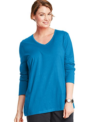 Just My Size Women's Plus Size Vneck Long Sleeve Tee, Deep Dive, 4X -