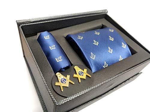Mason Mens Necktie - Masonic Neck Tie, Handkerchief & Cuffinks Set, NSC-103