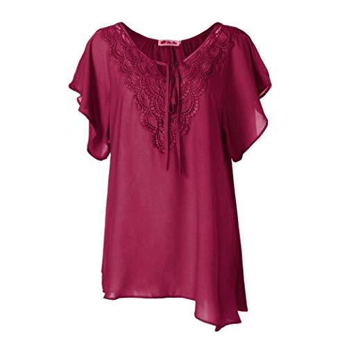 Shirts Cou V Top Courtes Chemise Blanc lgant Irrgulier Dentelle Casual Bandage Manches Confortable Blusen Shirt pissure Mince Femme Et Vetement Basic Mode zdWqH80