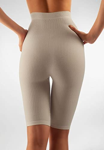 White, XXL FarmaCell 413 Womens high-Waisted Anti-Cellulite micromassage Shorts with Milk Fiber