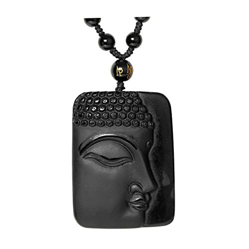 Top Plaza Hand Carved Natural Genuine Obsidian Talisman Patron Saint Buddha Head Pendant Adjustable Woven Rope Beads Necklace Amulet Hanging Ornament #2