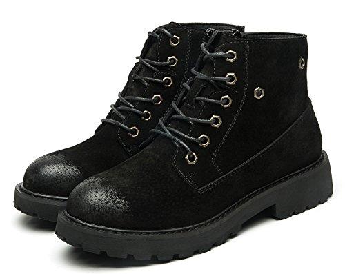 uBeauty Damen Leder Stiefel Chelsea Boots Flache Boots Klassischer Stiefeletten Schnüren Freizeitschuhe Schwarz