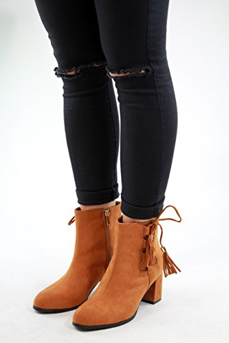 New Womens Ladies Ankle Boots Mid Block Heel Zip Tassels Lace Up Casual Shoes Camel 0wIzfUTGu