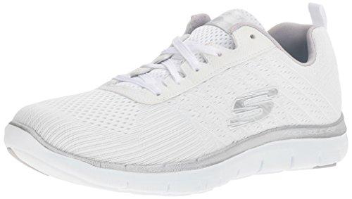 Skechers Sport Women's Flex Appeal 2.0 Break Free Fashion Sneaker, White/Silver, 8...