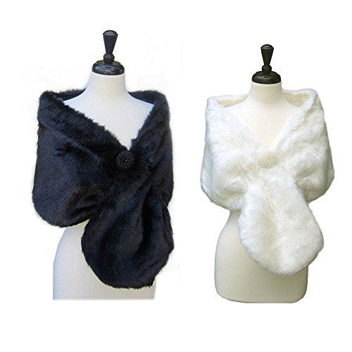 SACASUSA(TM Long Beautiful Faux Fur Shawl Stole Cape Winter in 2 Colors