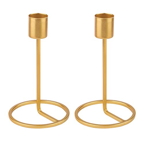 (Dedoot Candle Holders, Gold Brass Candlestick Holders Metal Taper Candle Holders Fit 1 Inch Taper Candle, Decorative Candle Stand 3.6 Inch Height for Wedding and Dinner Table)