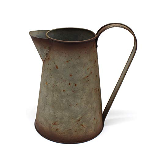 CVHOMEDECO. 7 Inch Galvanized Metal Milk Pitcher, Old Rustic Primitive Watering Can Jug Vase for Home and Garden Décor. from CVHOMEDECO.