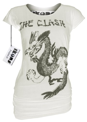 AMPLIFIED Vintage Look Girl Shirt THE CLASH DRAGON Cremeweiß Gr. XS