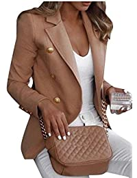 omniscient Women Solid Color Casual Double-Breasted Blazer Jackets