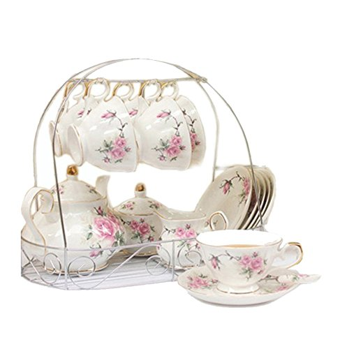 ufengke 15 Piece European Bone China Coffee Cup Set, Ceramic Porcelain Tea Cup Set with Metal Holder, Tea Gift Sets, Pink Camellia Painting (Porcelain Tea Coffee)