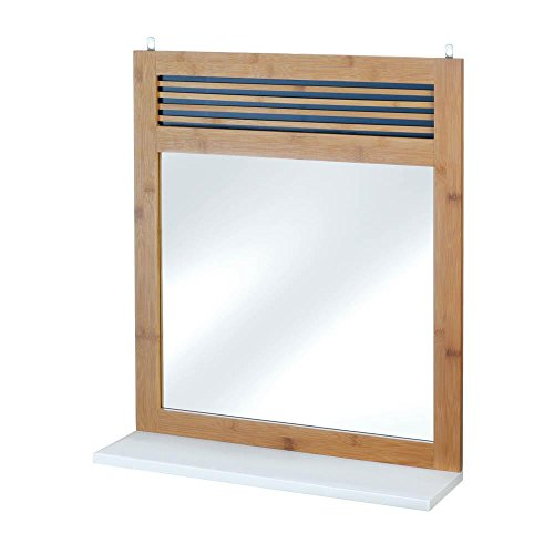 Decor and More Store Simple Square Bamboo Framed Mirror with White Shelf at Bottom (Mirror Bamboo Wall)
