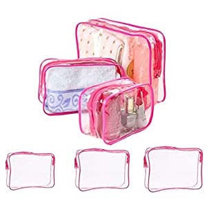 Clear Cosmetics Bag Protable PVC Waterproof Zippered Travel Bag Toiletry Organizer Case for Toiletries Cosmetic and Bathroom Accessories (Hot pink)