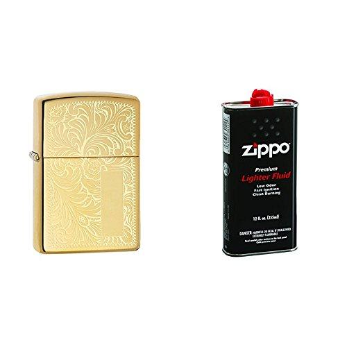 (Zippo Lighter High Polish Brass Venetian with 12 oz Lighter Fluid)