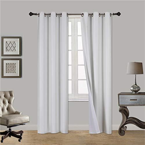Gorgeous HomeDIFFERENT Solid Colors & Sizes (#72) 1 Panel Solid Thermal Foam Lined Blackout Heavy Thick Window Curtain Drapes Bronze Grommets (Ivory Beige, 108