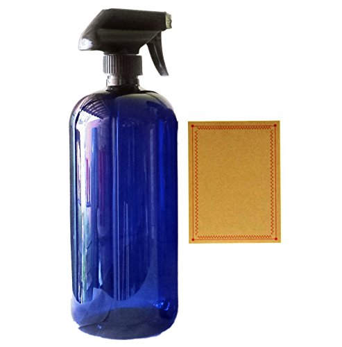 32 oz Blue Plastic PET Plastic Bottle with Black Hand Lotion Pump or Trigger Spray and Kraft Labels (01 Trigger Spray) (Kraft Bottle)