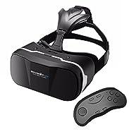 VR Casque+Bluetooth Télécommande,BlitzWolf VR Casque Headset 3D Lunettes Vidéo Casque de Réalité Virtuelles Réalité VR Lunettes 3D Compatible avec 3.5'' à 6.3'',iPhone, Samsung, Moto, LG, Nexus, HTC et Autres Smartphones Android pour les Films et les Jeux Vidéo [Version améliorée]