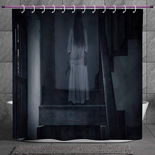 Polyester Shower Curtain 2.0 [ Halloween,Horror Scenery Ghost Girl Figure on Stairway Holding Axe Murder Violent Nightmare Decorative,Grey White ] Polyester Fabric Bath Decorative Curtain Ideas