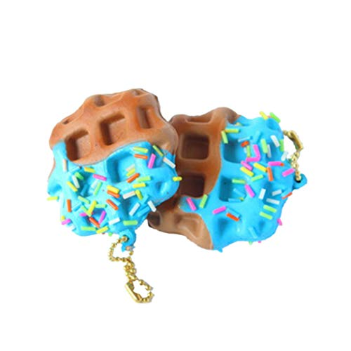 (PoityA Waffles Squishy Toys Slow Rising Antistress Stress Relief Toy Kids Toy Mobile Phone Straps Bags Pendant Blue)