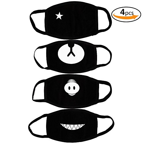 [Teenitor Anti Dust Anime Mask Cotton Mask, Cut EXO Bear Pig Teeth Star Pattern Anti Dust Face Mouth Mask For Kids Teens Men Women Black - 4pcs A Set] (Mouth Mask)