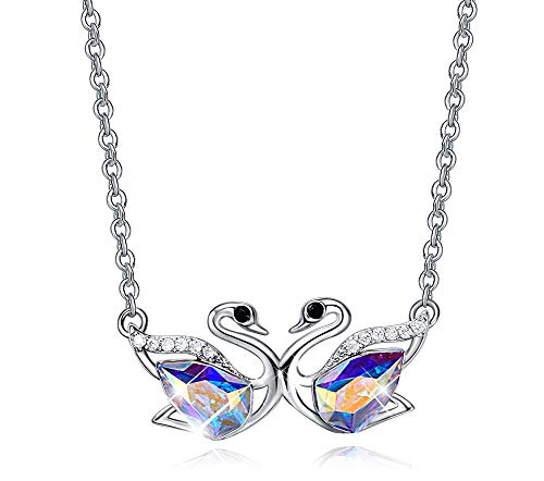 CDE Swan S925 Sterling Silver Swarovski Pendant Necklace Fine Jewelry Swan Animal Gifts