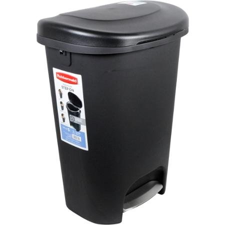 Step Wastebasket - Rubbermaid 13-Gallon Premium Step-On Waste Bin, Black