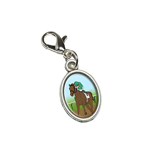 Graphics and More Horse Racing - Race Jockey Antiqued Bracelet Pendant Zipper Pull Oval Charm with Lobster ()