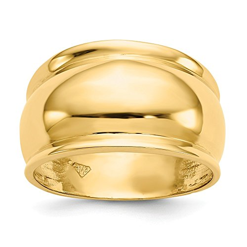 FB Jewels Solid 14K Yellow Gold Polished Dome Ring Size 10