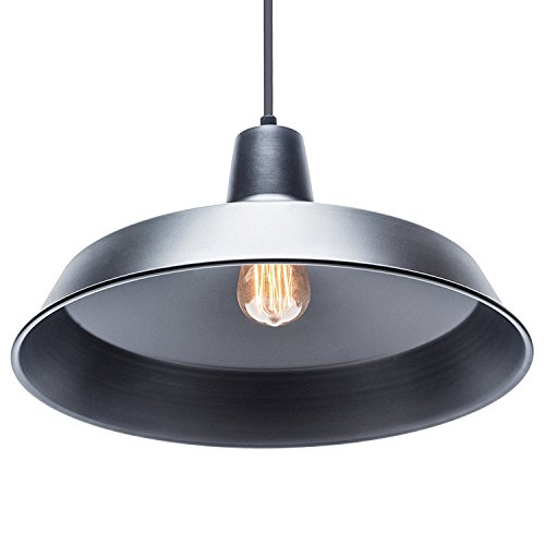 Globe Electric Barnyard 1-Light 16'' Industrial Warehouse Plug-in Pendant, Black 15' Cord, Matte Black Finish, in-Line On/Off Switch, 65151 by Globe Electric (Image #2)