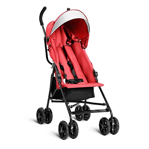 HONEY JOY Lightweight Umbrella Baby Stroller with 5-Point Safety Harness and Storage Basket (Red)