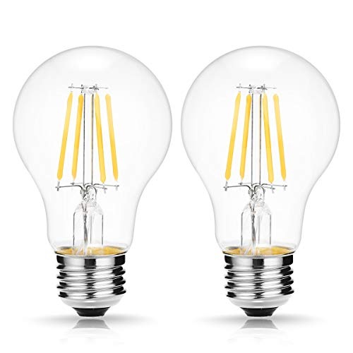 (A19 DC12V LED Vintage Filament Bulb, DORESshop 4W Dimmable Edison Globe Light Bulb, E26 Base, 2700K Warm White, Clear Glass Cover, Led Clear Light Bulb, Perfect for Indoor/Outdoor, Solar, Home, 2 Pack)