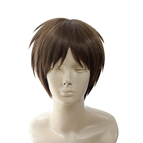 Yesui Short Men Cosplay Wigs Brown Straight Hair Wig for Boy Halloween Costumes Party Anime 12 inch -
