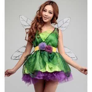 Vestido de hadas del traje de Halloween Tinkerbell con alas ...