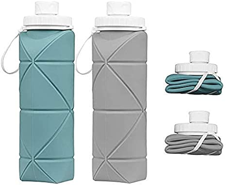 Collapsible Water Bottles - 2 Pack BPA Free Silicone Leakproof